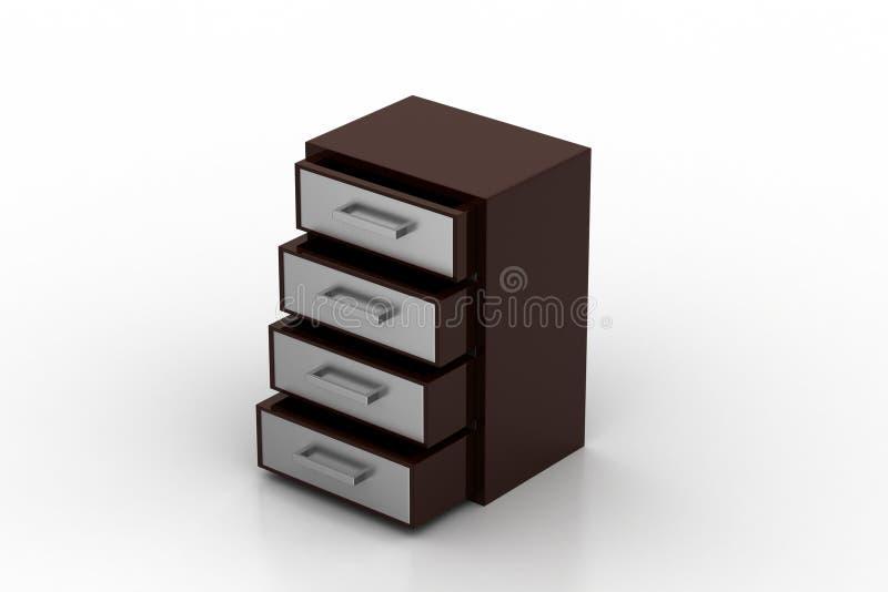 Wooden drawer. In white background vector illustration