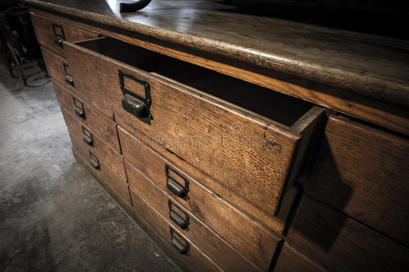 Wooden drawers old vintage retro style royalty free stock photo