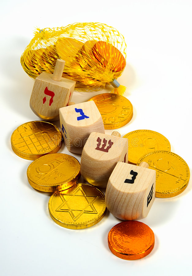 Free Wooden Dreidels And Gelt Royalty Free Stock Image - 26416