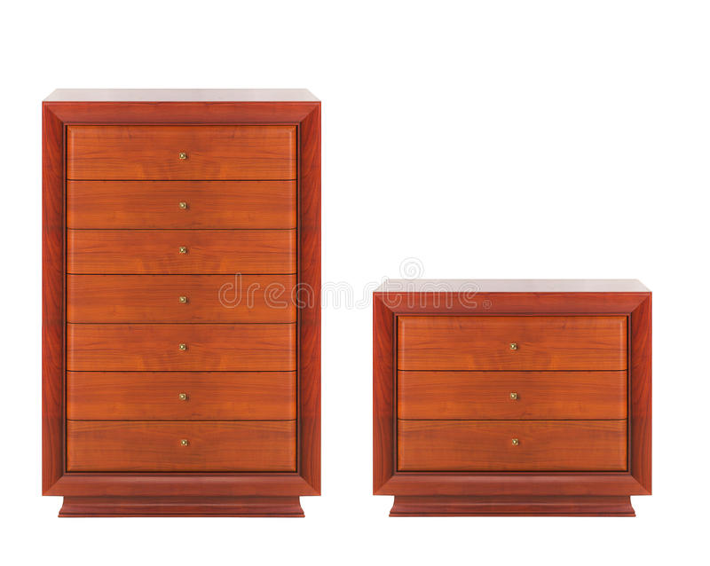 Wooden dressers. Isolated on white background stock photos