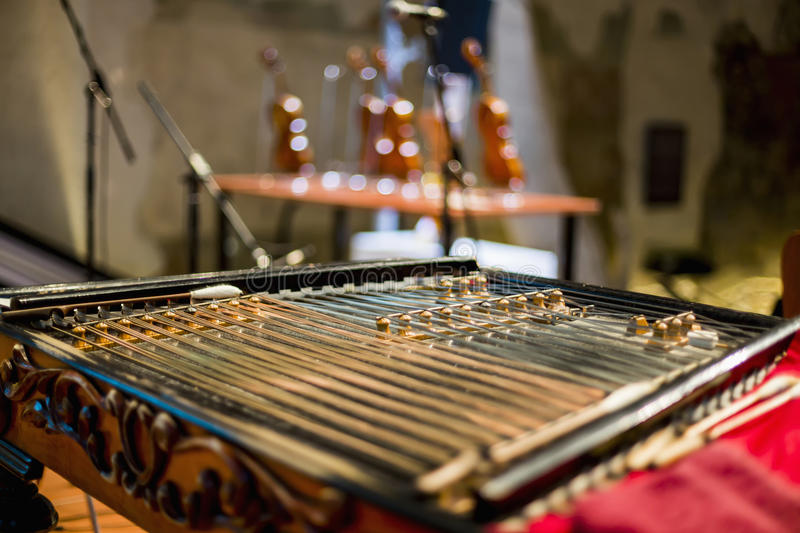 Wooden dulcimer traditional musical instrument. royalty free stock image