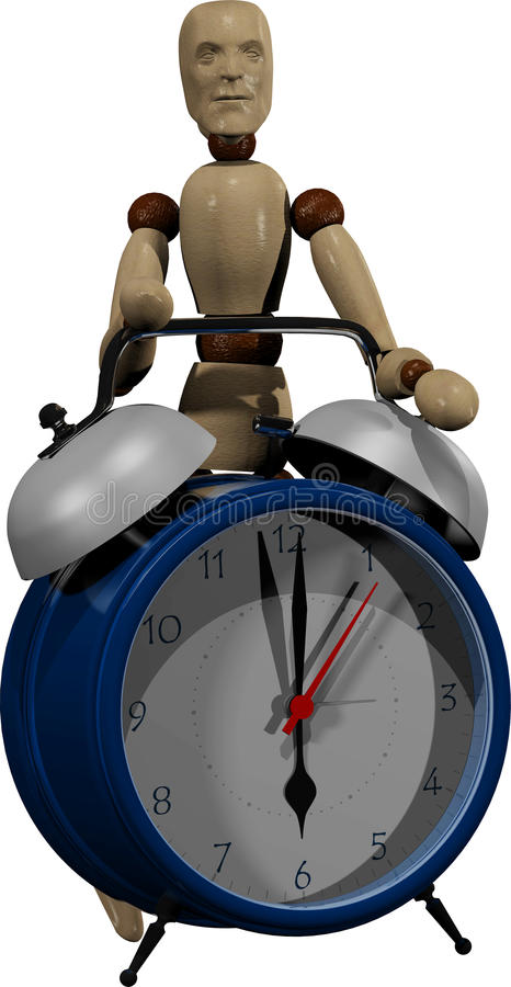 Wooden dummy and alarm clock stock image