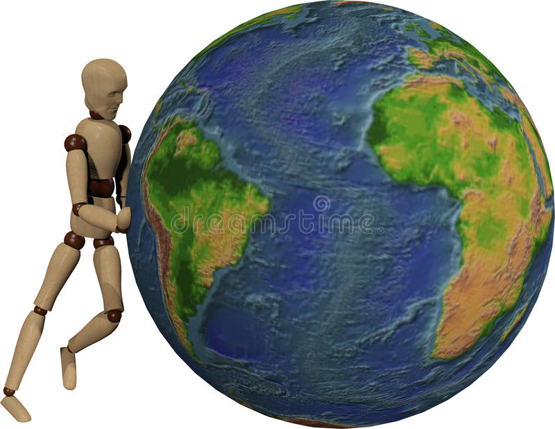 Wooden dummy and earth royalty free stock photos