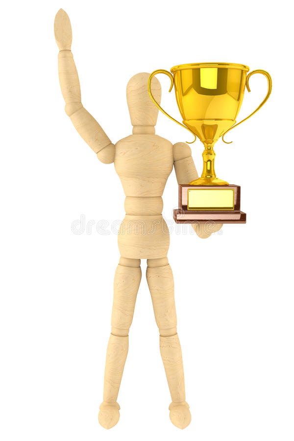 Wooden Dummy with Gold Trophy stock illustration