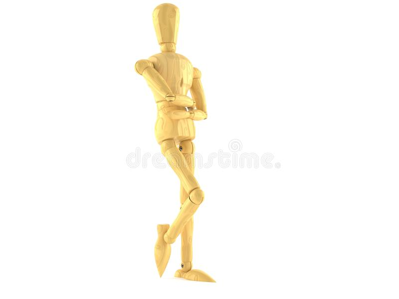 Wooden dummy. Lean on wall isolated on white background stock illustration