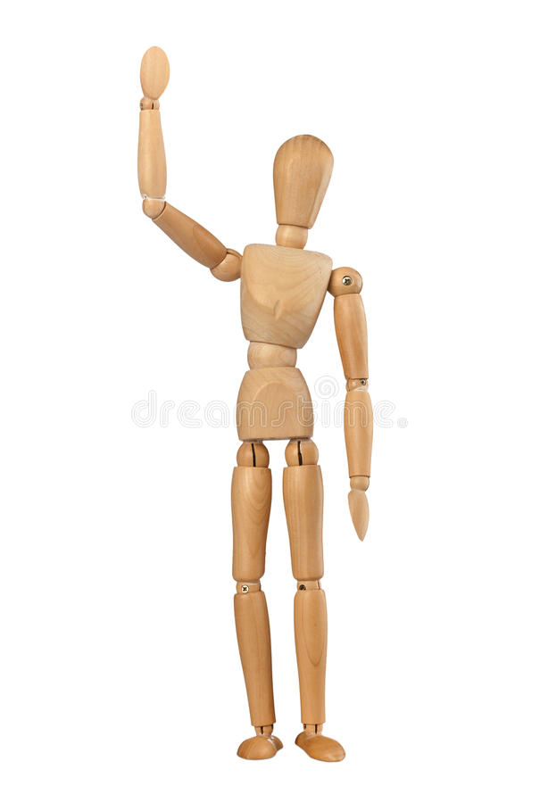 Wooden dummy man waving hello. On white background royalty free stock image
