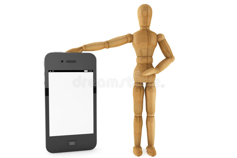 Download Wooden Dummy With Mobile Smartphone Stock Image - Image: 25857079