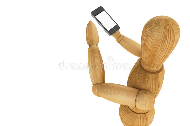 Wooden dummy with mobile smartphone royalty free stock photo
