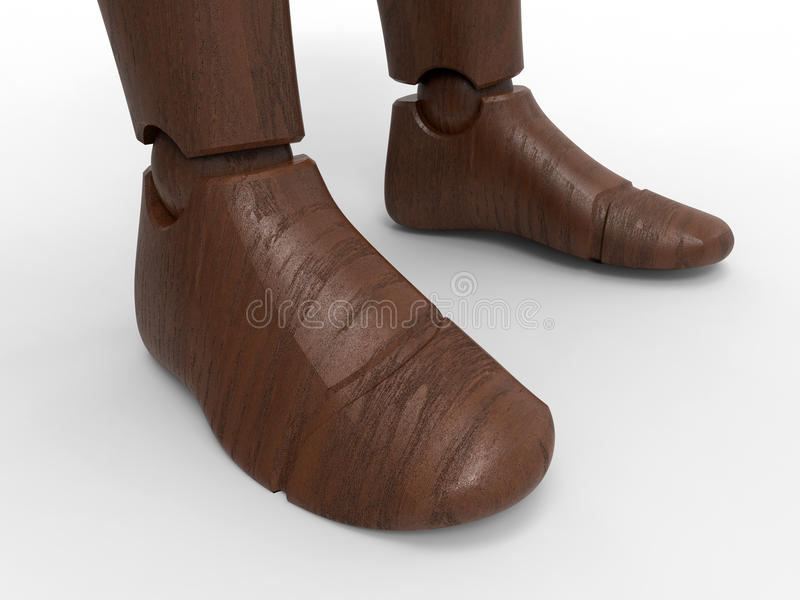 Wooden dummy model legs. 3D render illustration of a dummy`s legs. The composition is isolated on a white background with shadows stock illustration