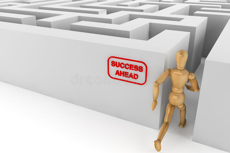 Wooden dummy runing to success in labyrinth royalty free stock photography