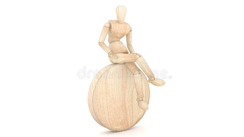 Wooden Dummy Sit. 3D rendering stock images