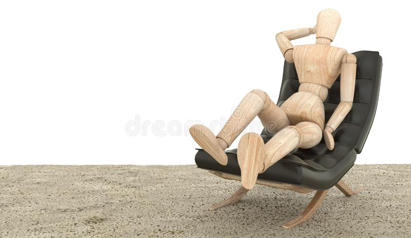 Wooden dummy siting on the couch. 3D rendering royalty free stock photography