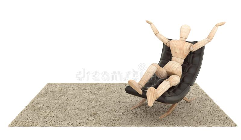 Wooden Dummy Siting on the couch and put your hand up . 3D rendering stock photos