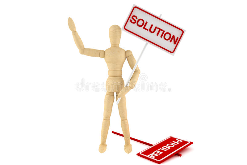 Wooden dummy with Solution Banner vector illustration