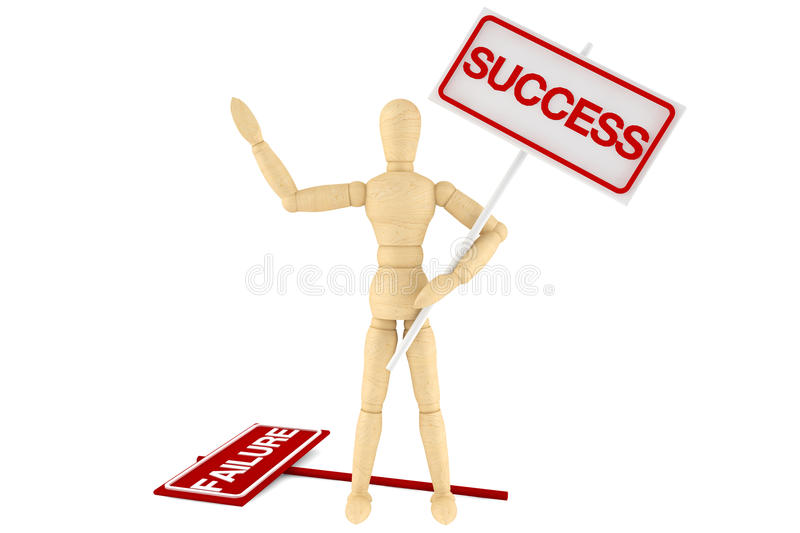 Wooden dummy with Success Banner stock illustration