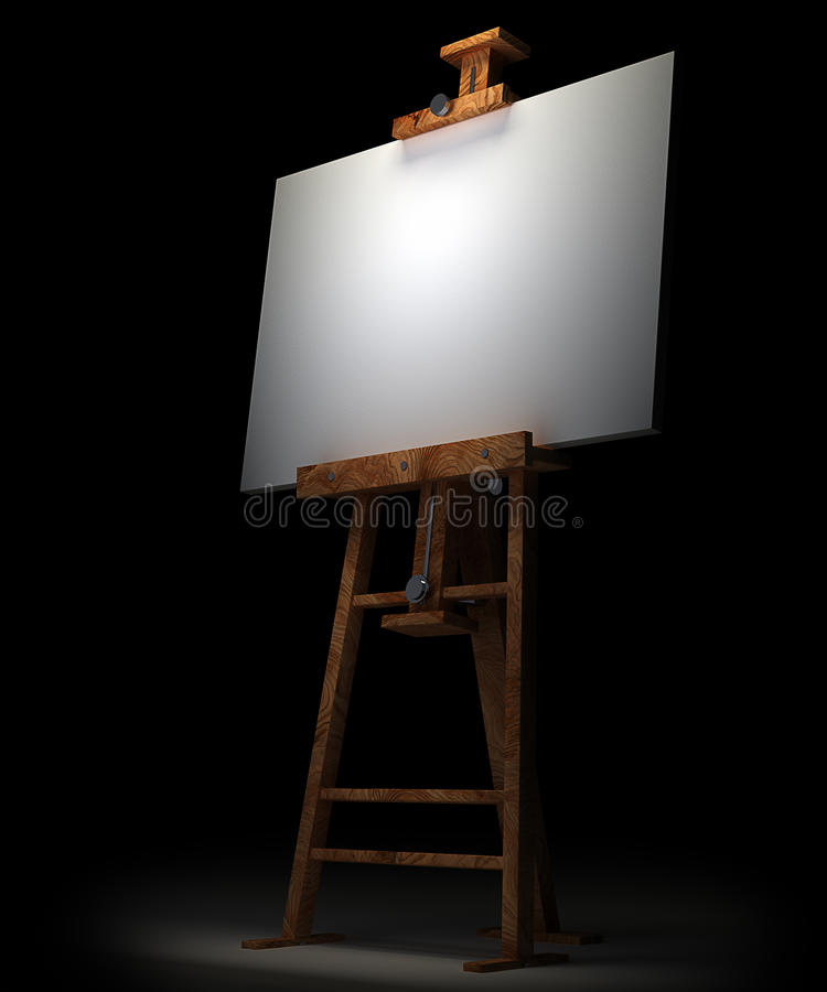 Wooden Easel With Blank Canvas Isolated Stock Photos