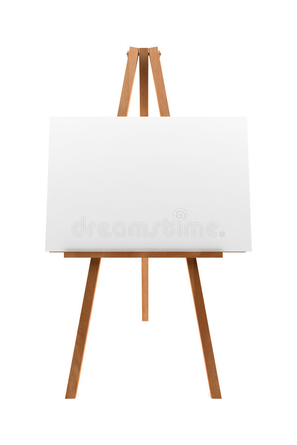 Wooden easel with blank canvas isolated on white stock photo