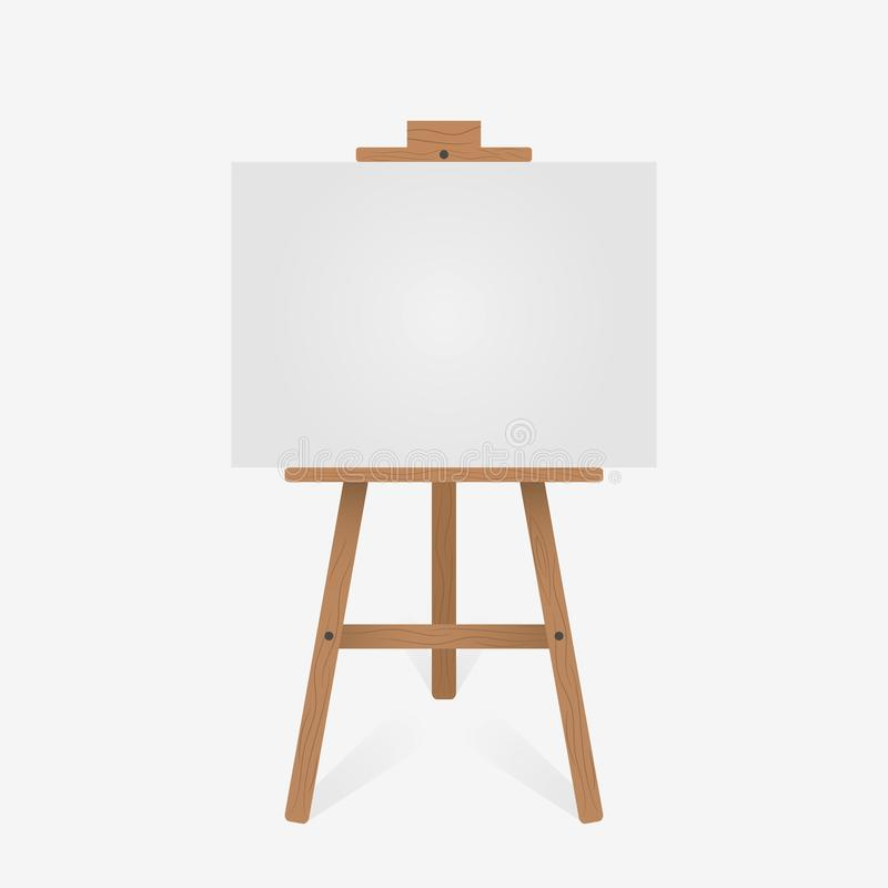Wooden easel with blank white canvas. Vector. vector illustration