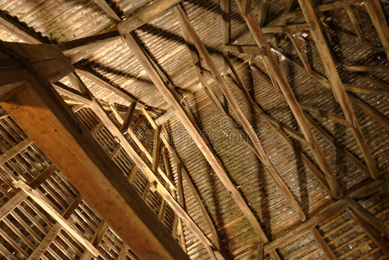 Wooden eaves of Axente Sever Church, Romania. Wooden eaves inside Axente Sever Church in Romania stock image