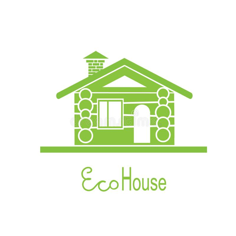 Wooden eco house icon vector illustration