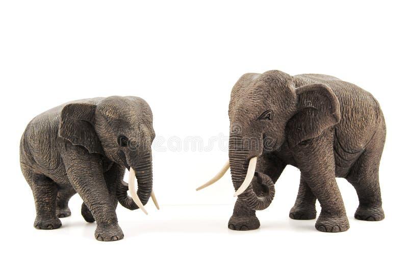 Wooden elephants stock images