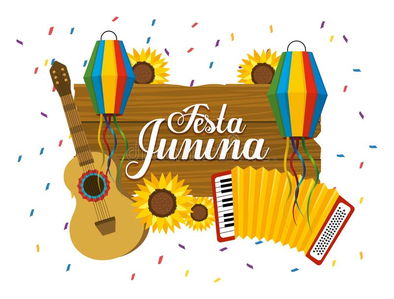 Wooden emblem with guitar and accordion to fasta junina. Vector illustration royalty free illustration