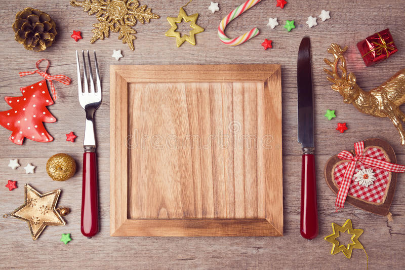 Wooden empty plate with rustic Christmas decorations. Menu background vector illustration