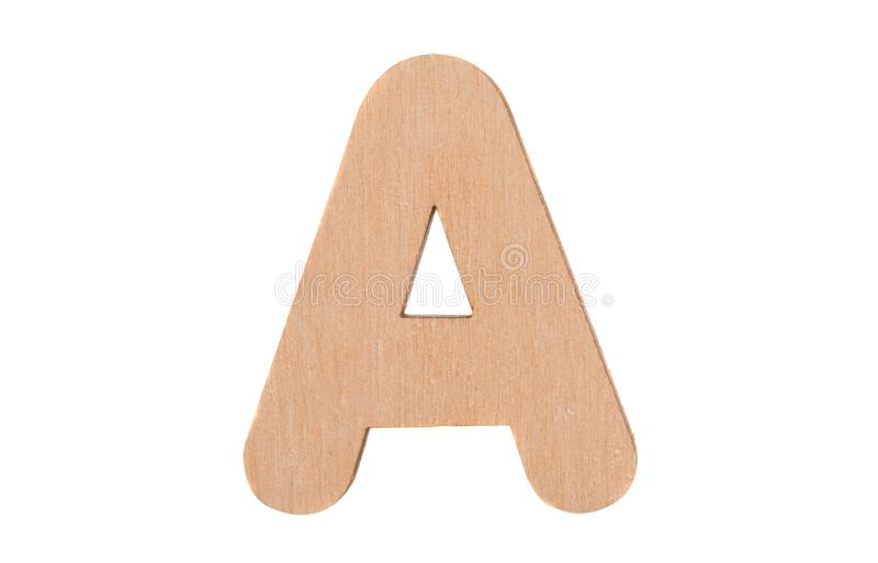 Wooden english letters isolated. On white background royalty free stock photography