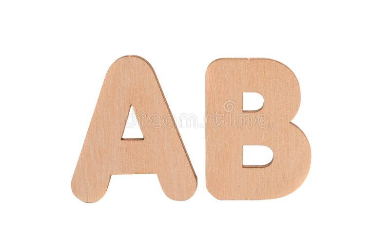 Wooden english letters isolated. On white background stock photos