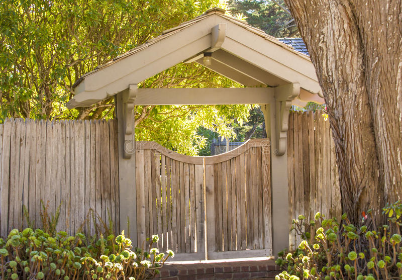 Wooden entrance gate stock photo