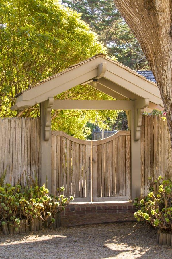 Wooden entrance gate royalty free stock photos
