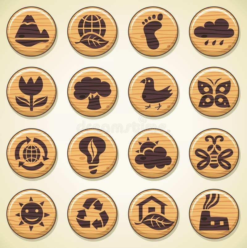 Wooden environment icons set royalty free illustration