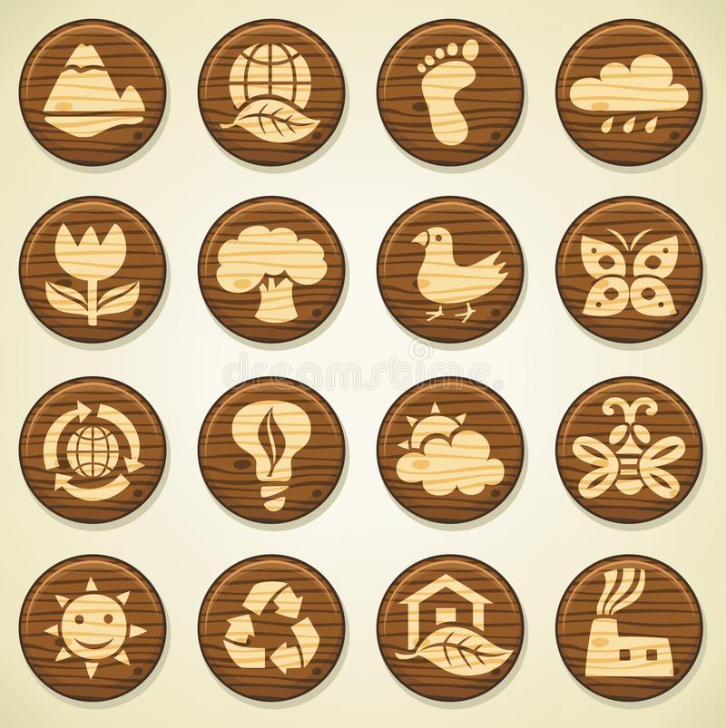 Wooden environment icons set