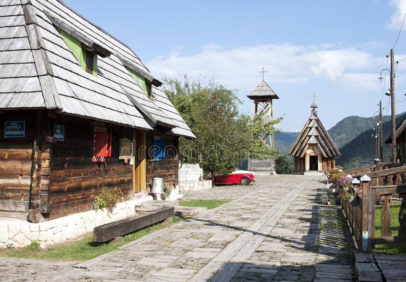 Wooden ethno village Drvengrad stock photography