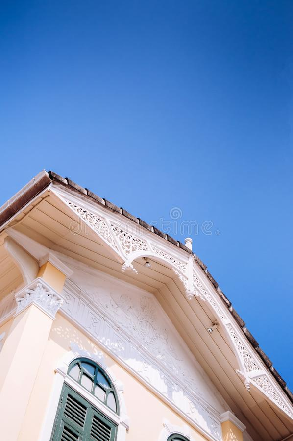 Wooden facade of Victorian style Gingerbread house, Colonial building royalty free stock image