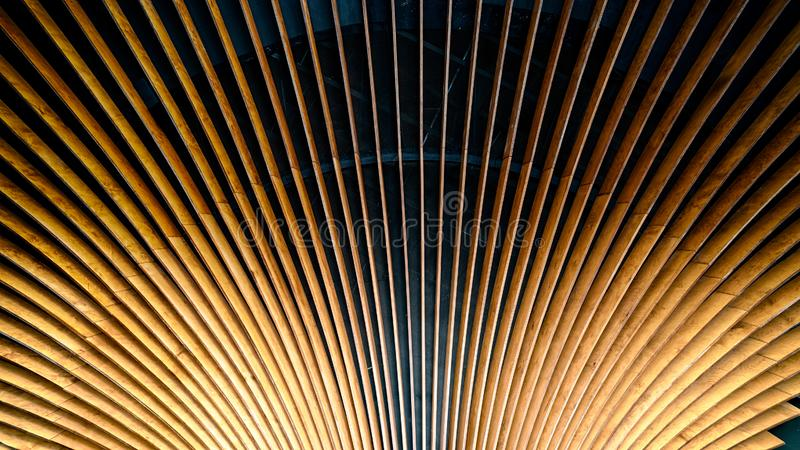 Wooden Fanfare. Wooden building ceiling in a fan pattern royalty free stock image