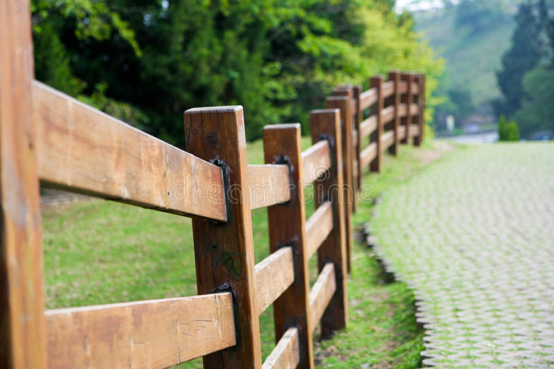 Wooden Fence. In a park stock photography