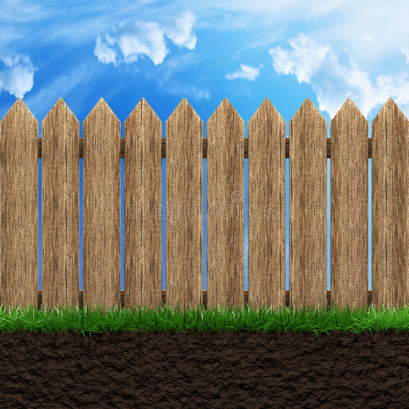 Wooden fence background. Wooden fence grass and blue sky 3d illustration stock illustration