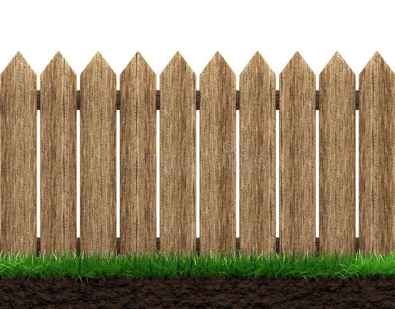 Wooden fence background. Wooden fence and grass isolated 3d illustration royalty free illustration
