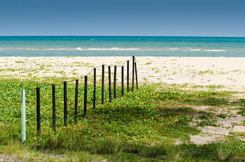 Wooden Fence By The Beach Royalty Free Stock Photos