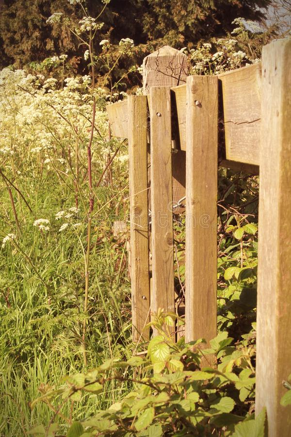 Wooden fence in the countryside stock photos