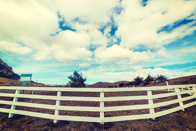 Wooden fence in the countryside royalty free stock photography