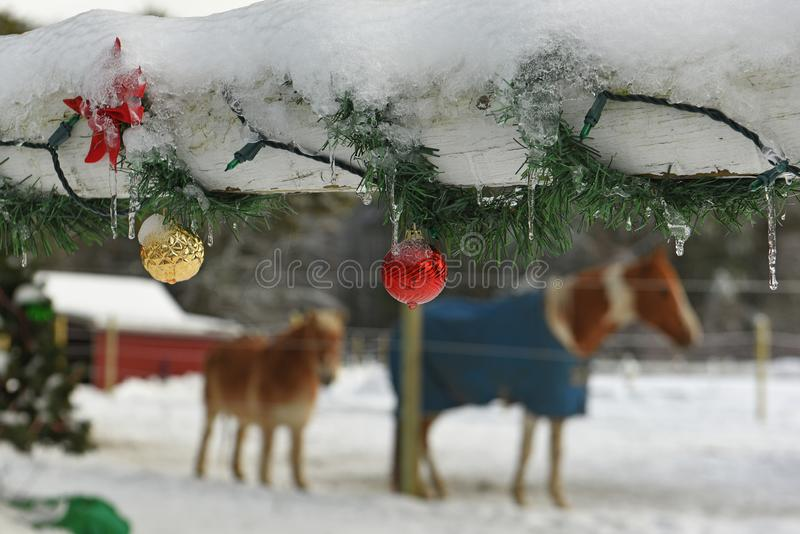 A wooden fence on a farm decorated with New Year`s Christmas toys and garlands and horses. stock photography