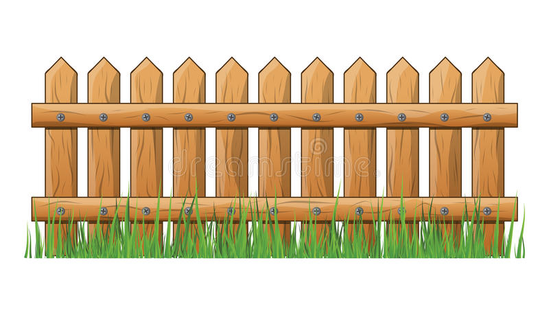Wooden Fence with grass isolated vector symbol icon design. royalty free illustration