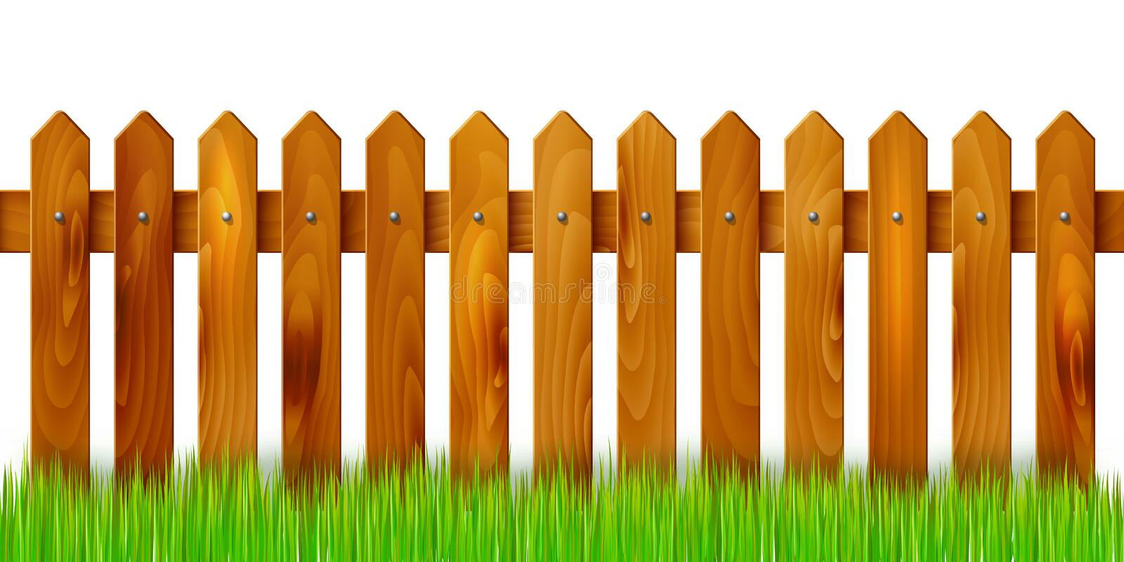 Wooden Fence And Grass Isolated On White Background