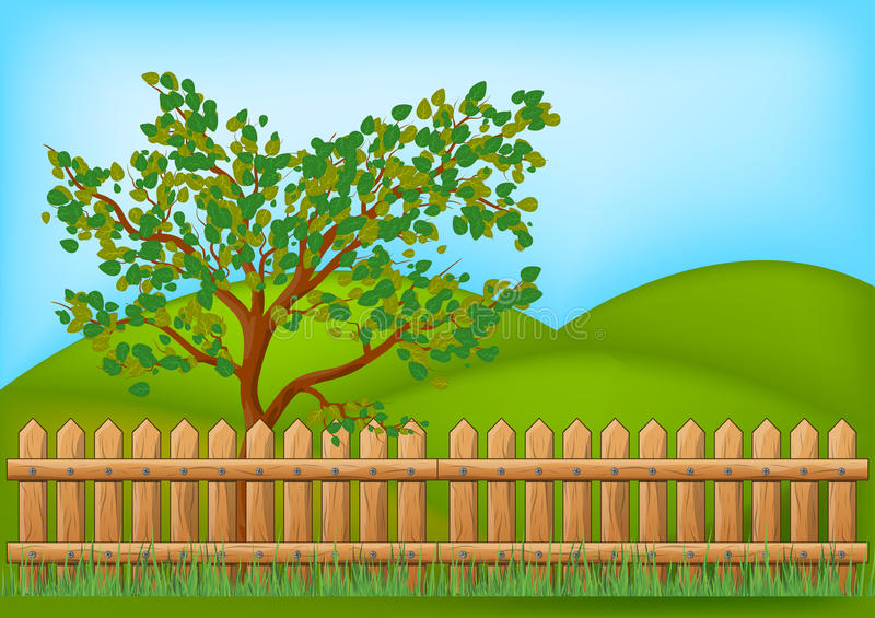 Wooden Fence with grass and tree landscape vector symbol icon stock illustration