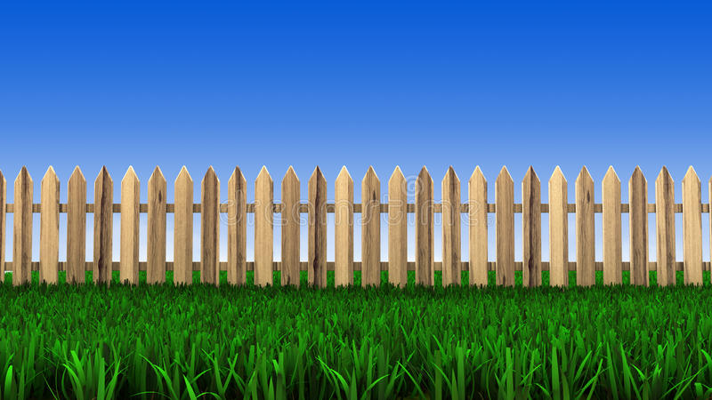 Wooden Fence And Green Grass Stock Image