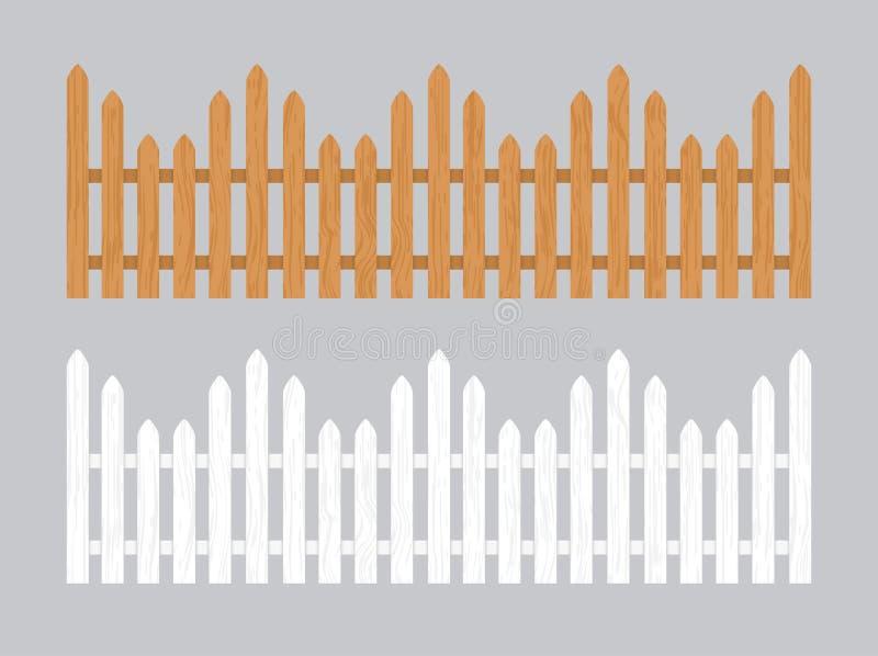 Wooden fence illustration. Farm wood wall yard, cartoon garden. Timber gate background pattern royalty free stock photo