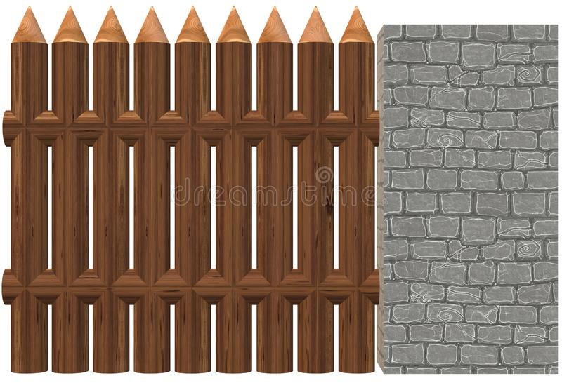 A wooden fence installed beside a light grey hard brick wall royalty free illustration
