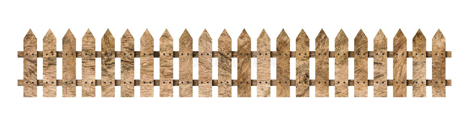 Wooden fence isolated on white background. Clipping path include in this image.  royalty free stock images